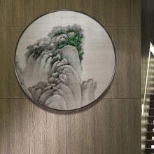 钉子画新中式圆形软装画山水立体装饰画样板房玄关实物画手工挂画
