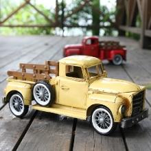 合金车模仿真复古美式货车纯手工铁艺汽车美国货车合金车模型