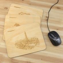 木质烙画风格鼠标垫 可定制雕刻图案和LOGO