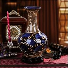 景德镇陶瓷器 蓝紫抽象花纹艺术雕刻摆设花瓶花插现代工艺品摆件