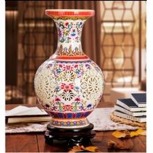 景德镇陶瓷器 手工粉彩镂空花瓶花插 欧式时尚工艺家居落地摆件
