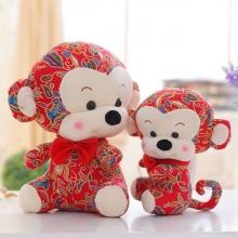 中国风布艺猴子花布猴年吉祥物玩偶公仔毛绒玩具婚庆娃娃礼品批发