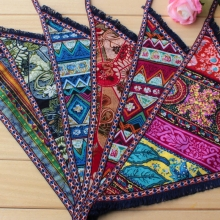 地方特色工艺礼品 手工印染蓝印花布三角头巾 中国地方