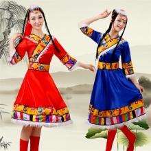 新款藏族舞蹈服装女 民族舞蹈服装演出服 蒙古族少数民族舞台服装