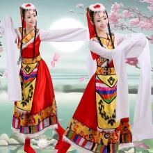 藏族舞蹈演出服装女成人+水袖演出服长裙广场舞民族服装表演服饰